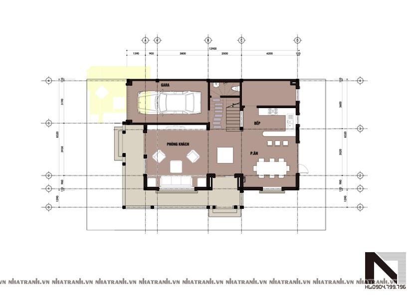 Ảnh: Mặt bằng quy hoạch tổng thể mẫu biệt thự phố 2 mặt tiền 3 tầng phong cách cổ điển NT-B6303