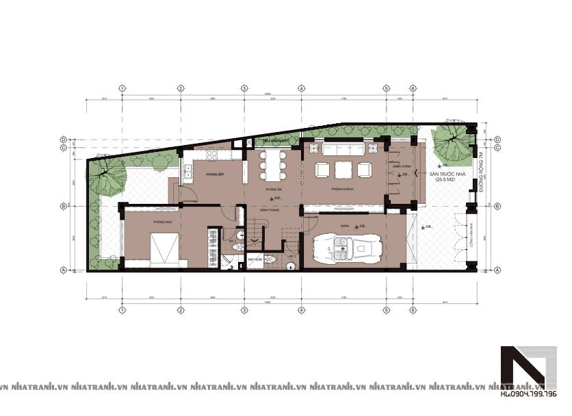 Ảnh: Mặt bằng quy hoạch tổng thể mẫu thiết kế biệt thự mặt tiền 8m 3 tầng hiện đại NT-B6302