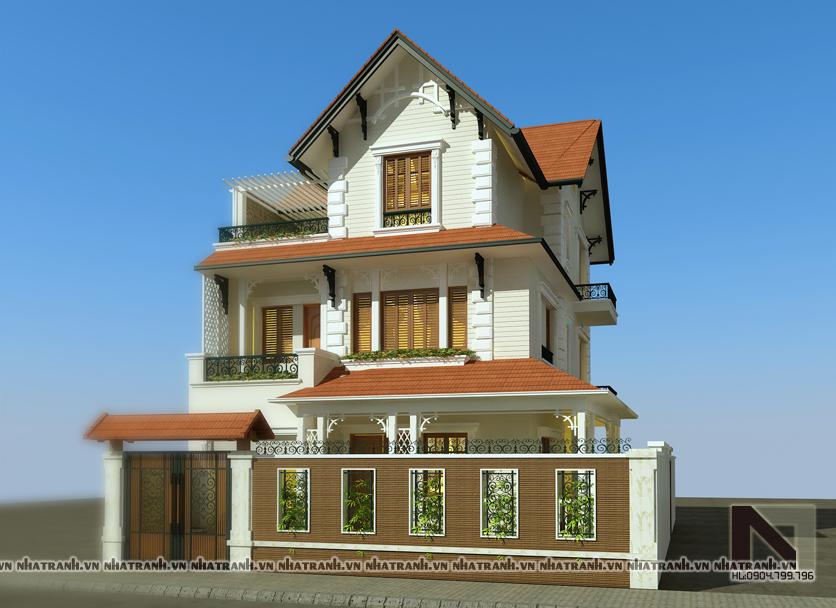 Ảnh: Phối cảnh tổng thể mẫu biệt thự phố 2 mặt tiền 3 tầng phong cách cổ điển NT-B6303