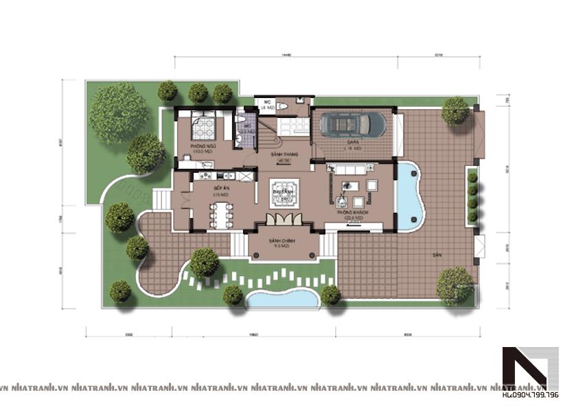 Ảnh: Mặt bằng quy hoạch tổng thể mẫu biệt thự cổ điển đẹp 3 tầng NT-B6305