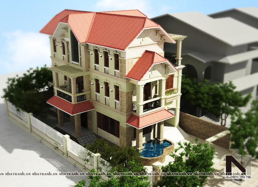 Ảnh: Phối cảnh tổng thể mẫu biệt thự cổ điển đẹp 3 tầng NT-B6305