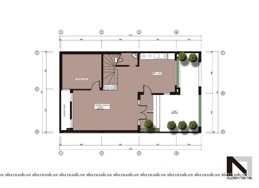 Ảnh: Mặt bằng quy hoạch tổng thể mẫu biệt thự mái lệch 3 tầng hiện đại NT-B6306