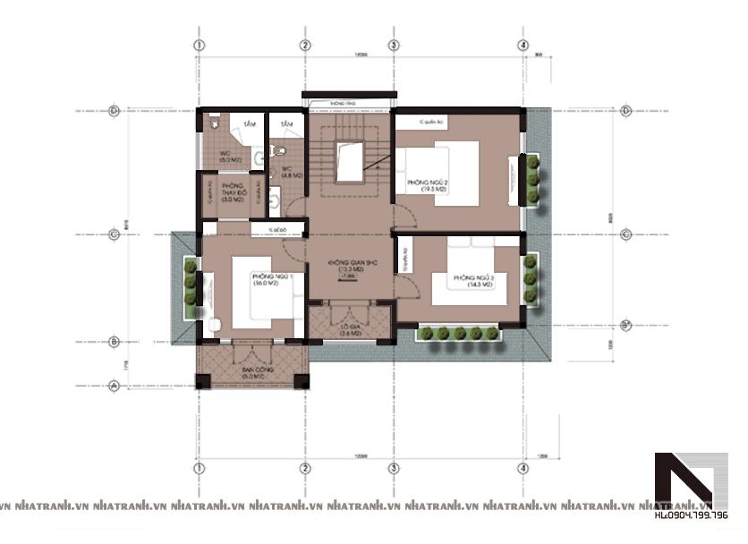 Ảnh: Mặt bằng chi tiết tầng điển hình mẫu biệt thự kiểu cổ điển 2 tầng mái ngói NT-B6307