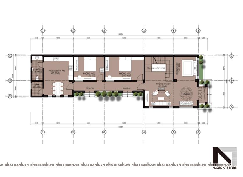 Ảnh: Mặt bằng chi tiết tầng điển hình mẫu biệt thự 2 tầng hiện đại NT-B6308