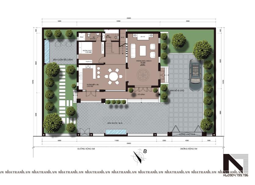 Ảnh: Mặt bằng quy hoạch tổng thể mẫu biệt thự kiểu cổ điển 2 tầng mái ngói NT-B6307