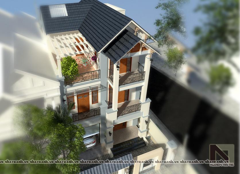 Ảnh: Phối cảnh tổng thể mẫu thiết kế biệt thự mặt tiền 8m 3 tầng hiện đại NT-B6302