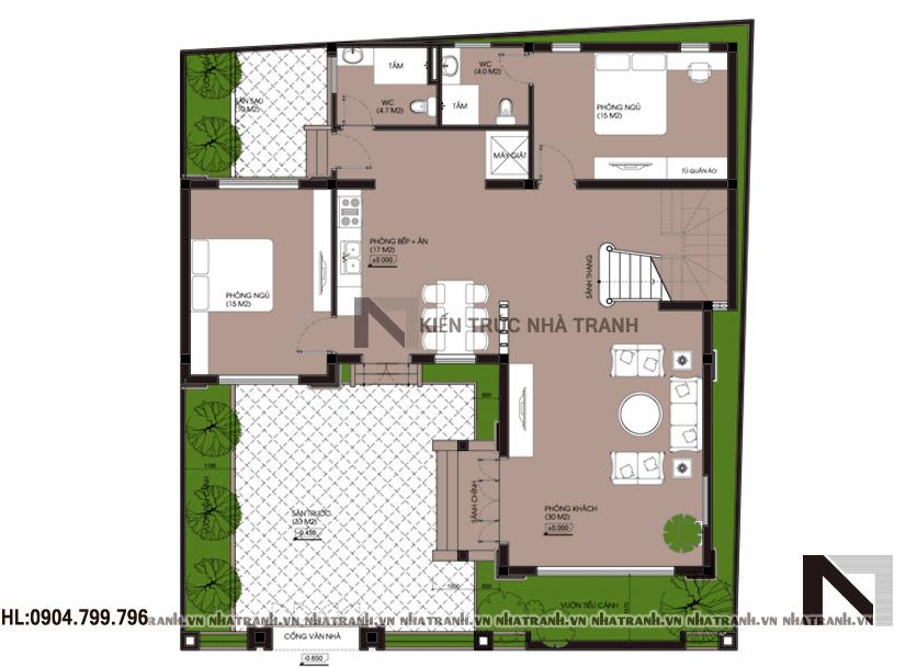 Ảnh: Mặt bằng quy hoạch tổng thể mẫu biệt thự cổ điển 2 tầng NT-B6355