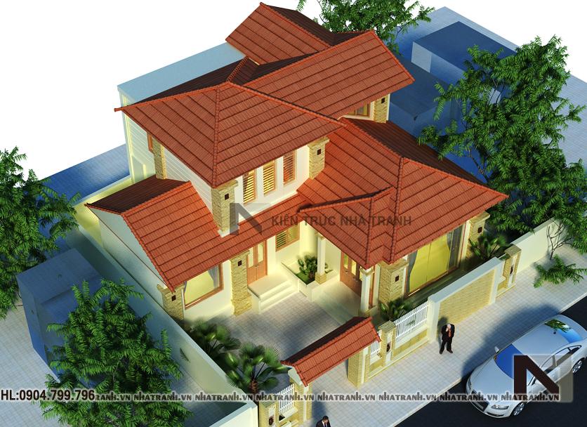 Ảnh: Phối cảnh tổng thể mẫu biệt thự cổ điển 2 tầng NT-B6355