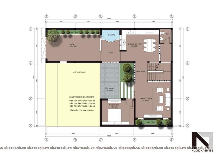 Ảnh: Mặt bằng quy hoạch tổng thể mẫu biệt thự mái dốc 3 tầng phong cách cổ điển NT-B6309