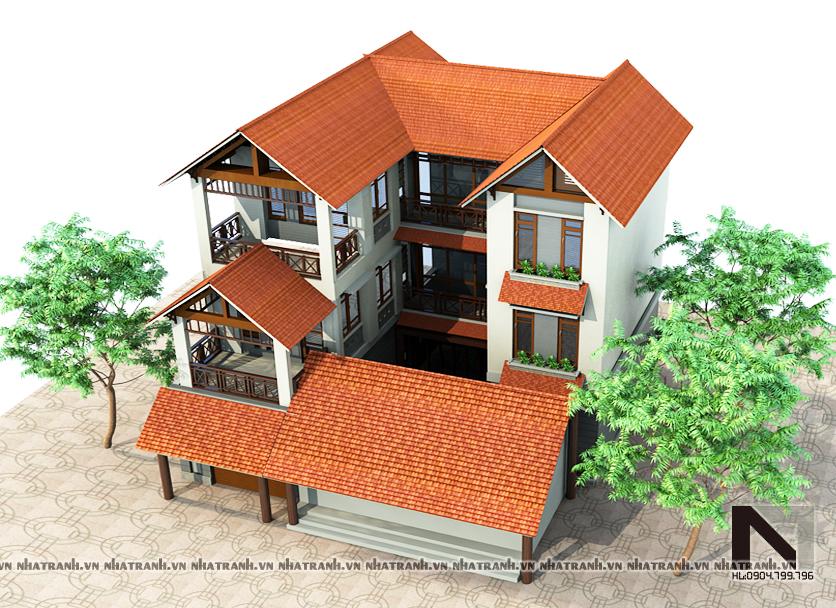 Ảnh: Phối cảnh tổng thể mẫu biệt thự mái dốc 3 tầng phong cách cổ điển NT-B6309