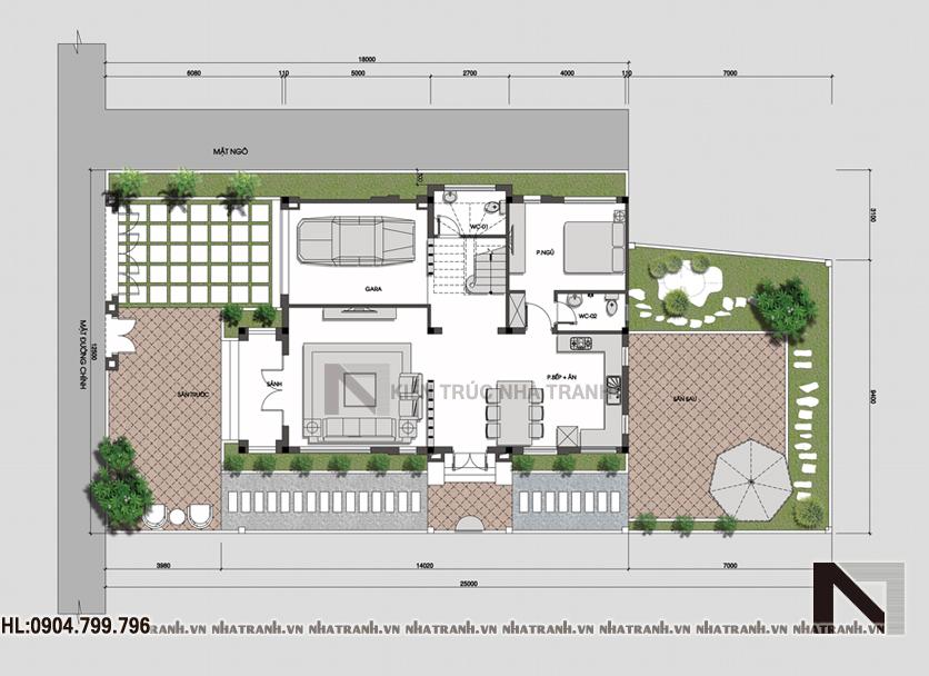 Ảnh: Mặt bằng quy hoạch tổng thể mẫu biệt thự 3 tầng mái thái phong cách cổ điển NT-B6326