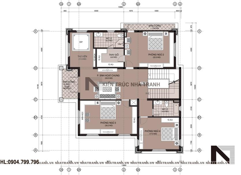 Ảnh: Mặt bằng chi tiết tầng điển hình mẫu biệt thự mang phong cách cổ điển 3 tầng NT-B6361