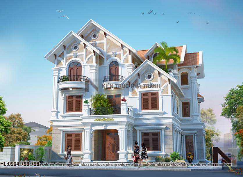 Ảnh: Phối cảnh tổng thể mẫu biệt thự mang phong cách cổ điển 3 tầng NT-B6361