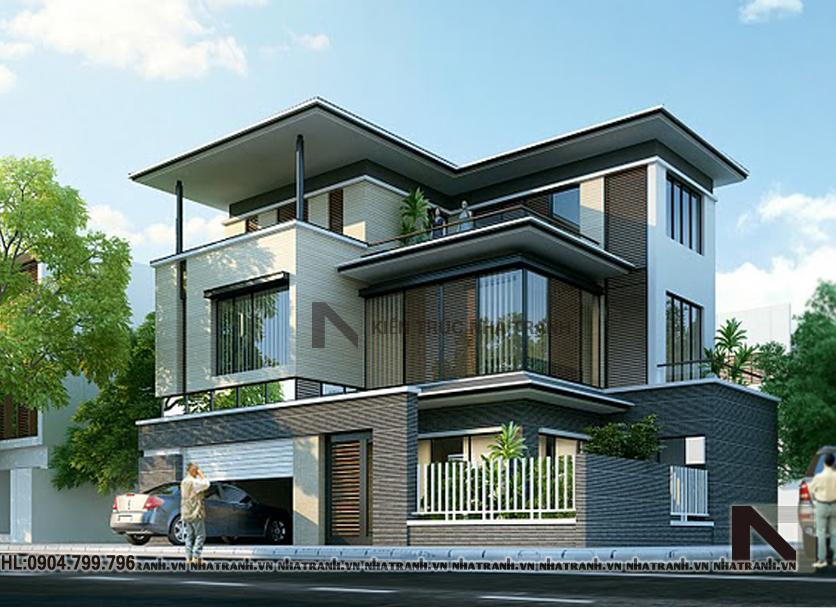 Ảnh: Phối cảnh tổng thể mẫu nhà biệt thự 3 tầng đẹp phong cách hiện đại NT-B6333