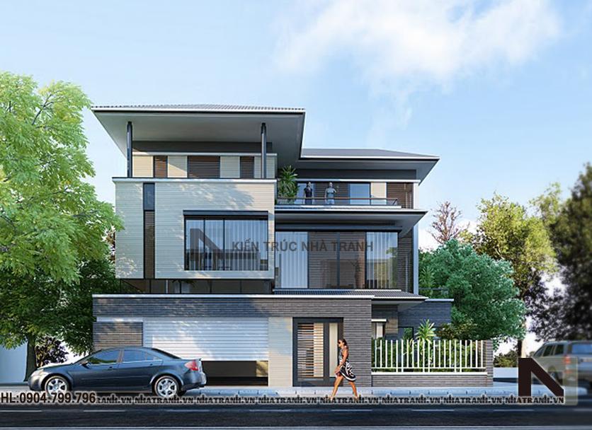 Ảnh: Phối cảnh tổng thể 02 mẫu nhà biệt thự 3 tầng đẹp phong cách hiện đại NT-B6333