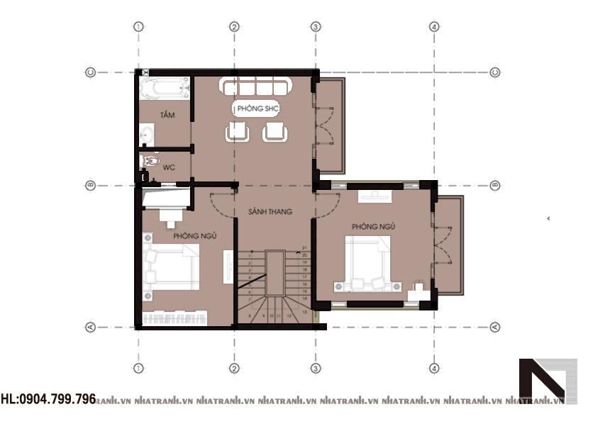 Ảnh: Mặt bằng chi tiết tầng điển hình mẫu biệt thự lô phố 3 tầng phong cách tân cổ điển NT-B6312