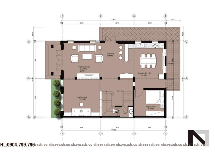 Ảnh: Mặt bằng chi tiết tầng điển hình mẫu biệt thự đẹp tân cổ điển 3 tầng NT-B6315