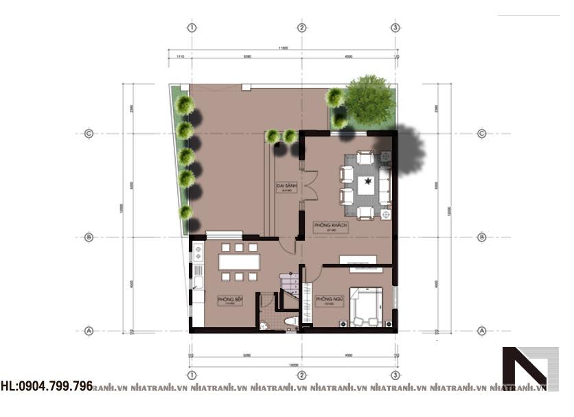 Ảnh: Mặt bằng quy hoạch tổng thể mẫu biệt thự chữ L tân cổ điển 3 tầng NT-B6314