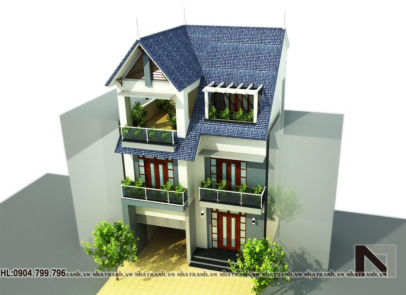 Ảnh: Phối cảnh tổng thể 01 mẫu biệt thự phố tân cổ điển 3 tầng NT-B6316