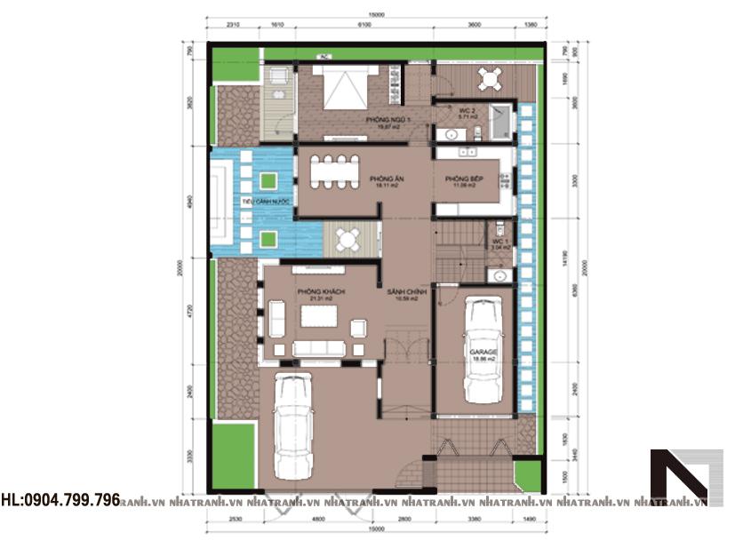 Ảnh: Mặt bằng quy hoạch tổng thể mẫu biệt thự 300m2 đẹp NT-B6319