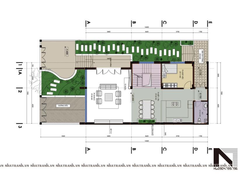 Ảnh: Mặt bằng quy hoạch tổng thể mẫu biệt thự phố mặt tiền 6m 3 tầng phong cách hiện đại NT-B6310