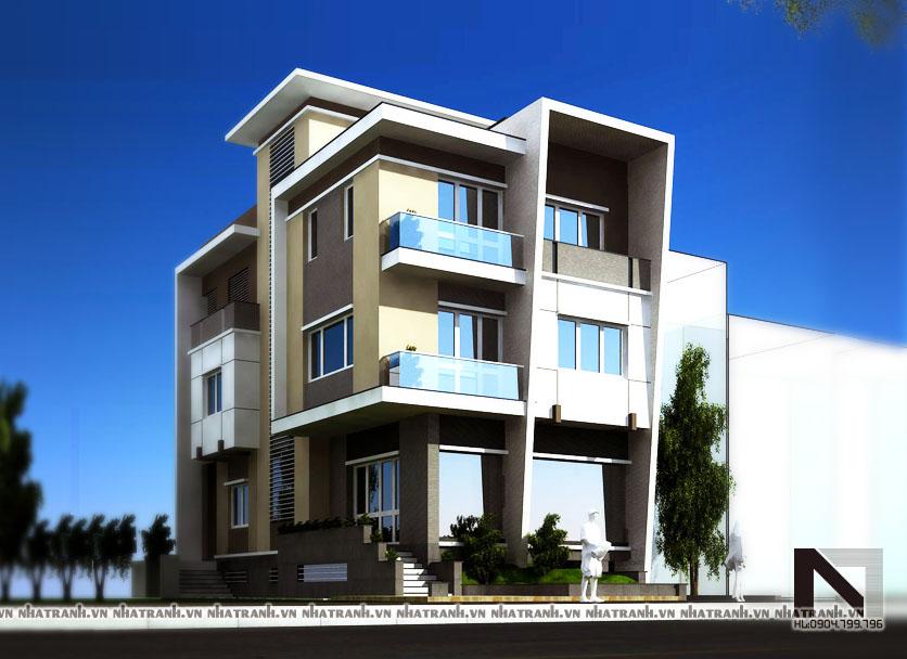 Ảnh: Phối cảnh tổng thể mẫu biệt thự phố mặt tiền 6m 3 tầng phong cách hiện đại NT-B6310