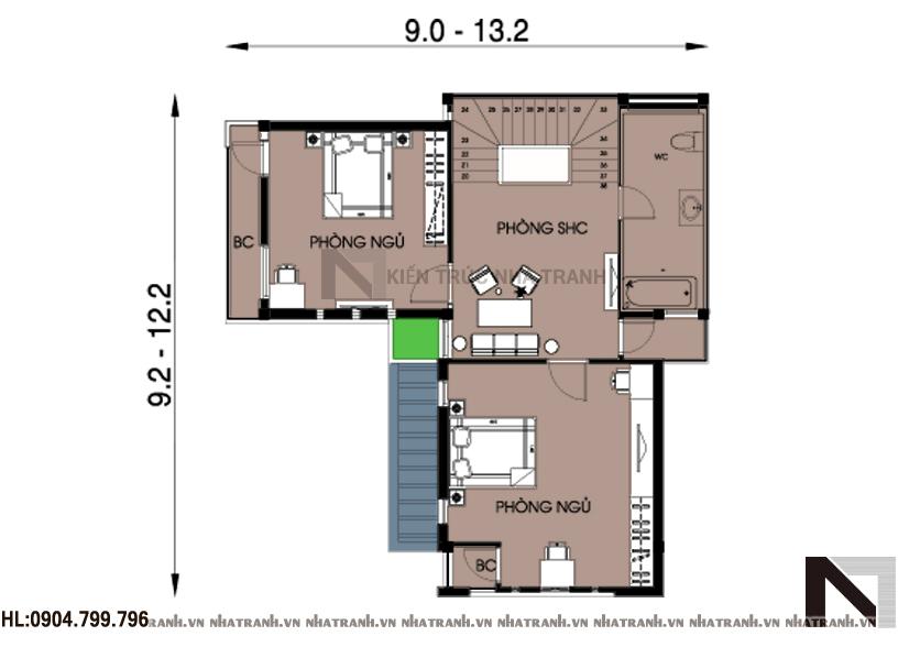 Ảnh: Mặt bằng chi tiết tầng điển hình mẫu thiết kế biệt thự phong cách tân cổ điển 3 tầng NT-B6331
