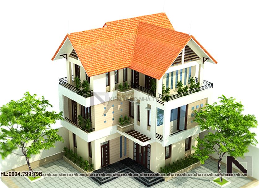 Ảnh: Phối cảnh tổng thể mẫu nhà biệt thự tân cổ điển 3 tầng đẹp NT-B6333