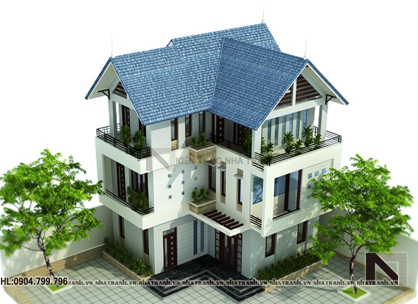 Ảnh: Phối cảnh tổng thể mẫu thiết kế biệt thự phong cách tân cổ điển 3 tầng NT-B6331