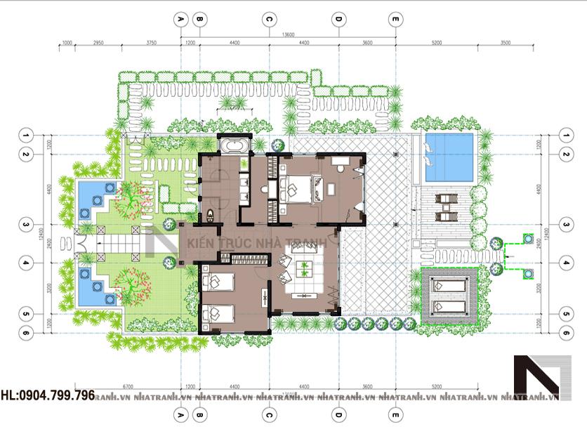 Ảnh: Mặt bằng quy hoạch tổng thể mẫu nhà vườn 1 tầng 2 phòng ngủ hiện đại NT-B6345