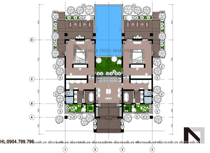 Ảnh: Mặt bằng quy hoạch tổng thể mẫu biệt thự vườn có hồ bơi 1 tầng NT-B6346