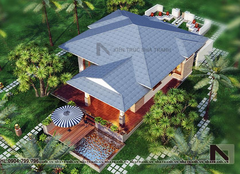 Ảnh: Phối cảnh tổng thể mẫu nhà vườn 1 tầng 2 phòng ngủ phong cách hiện đại NT-B6345