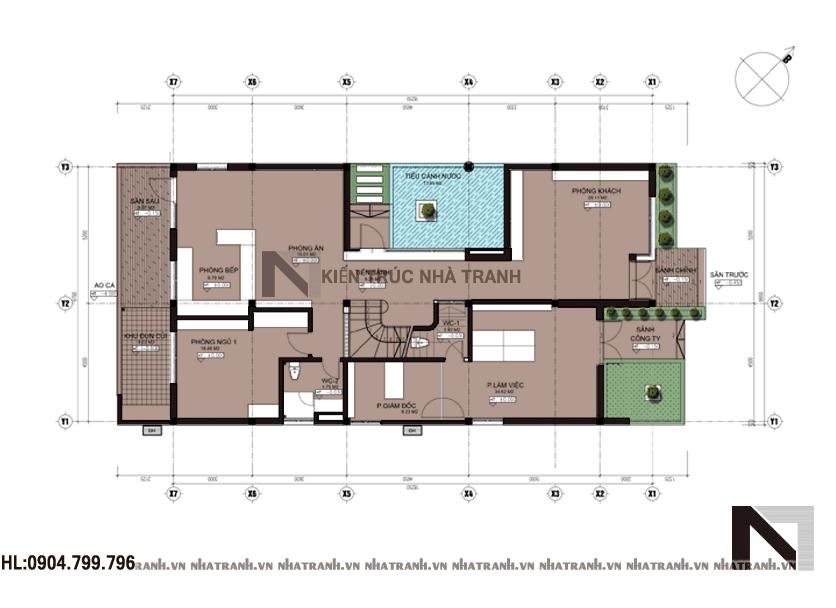 Mặt bằng chi tiết tầng điển hình mẫu nhà vườn mái thái 2 tầng phong cách cổ điển NT-B6348
