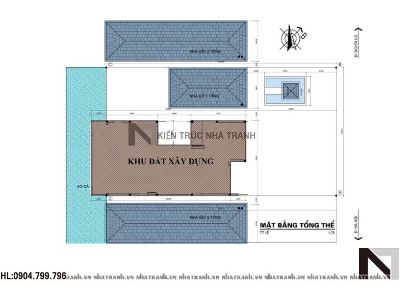 Ảnh: Mặt bằng quy hoạch tổng thể mẫu nhà vườn mái thái 2 tầng phong cách cổ điển NT-B6348