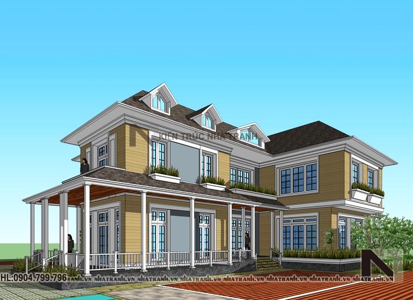 Ảnh: Phối cảnh tổng thể mẫu nhà vườn mái thái 2 tầng phong cách cổ điển NT-B6348