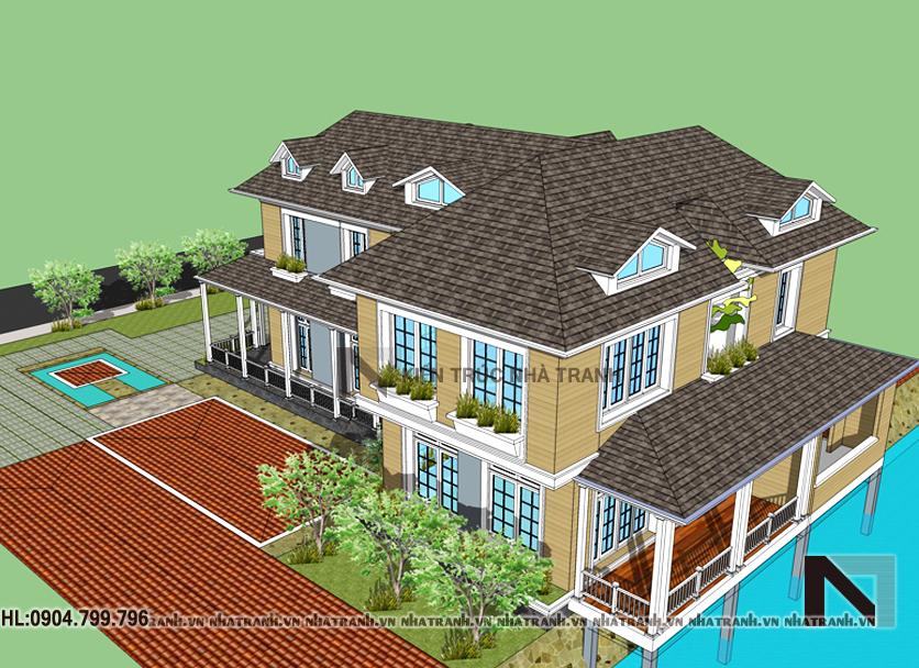 Phối cảnh tổng thể mẫu nhà vườn mái thái 2 tầng phong cách cổ điển NT-B6348