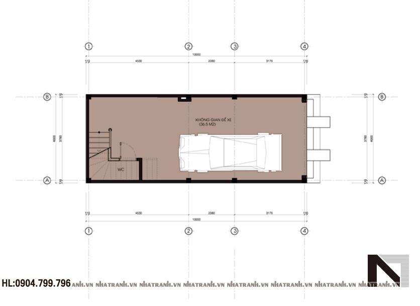 Ảnh: Mặt bằng chi tiết tầng điển hình mẫu nhà ống 3 tầng mặt tiền 4m hiện đại NT-L3601