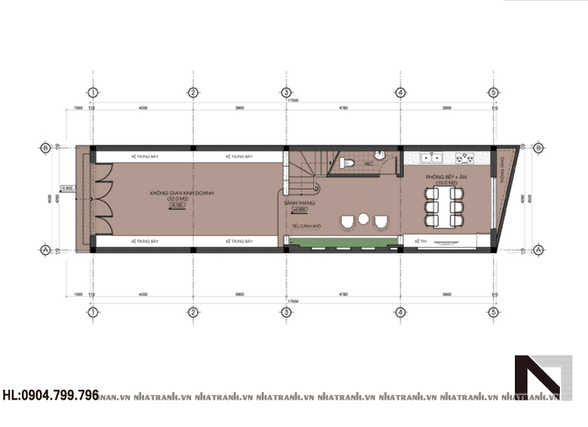 Mặt bằng tầng 1 mẫu nhà lô phố 3 tầng hiện đại Nt-L3603