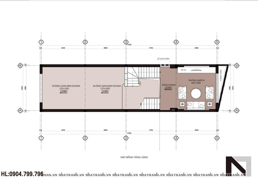 Ảnh: Mặt bằng tầng 2 mẫu nhà lô phố 3 tầng hiện đại Nt-L3603