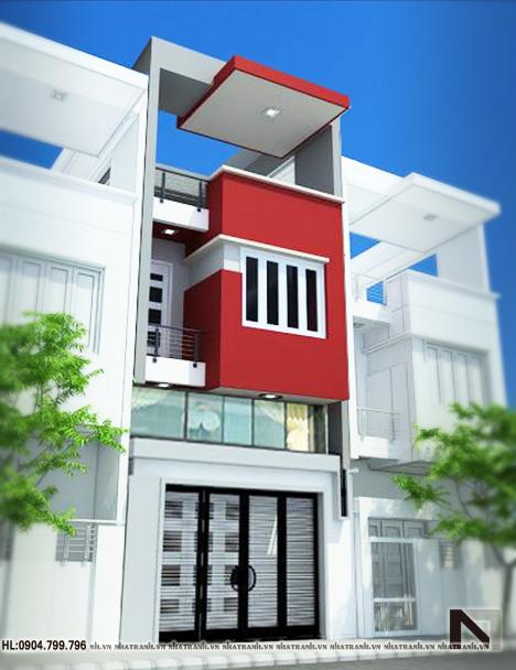 Ảnh: Phối cảnh tổng thể mẫu nhà lô phố 3 tầng hiện đại NT-L3603