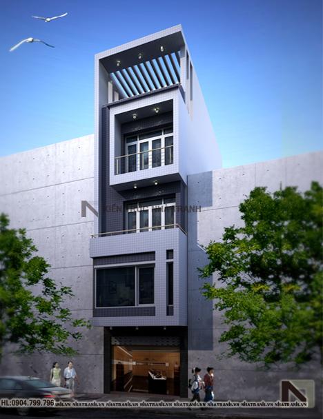 Mẫu nhà phố mặt tiền 4m phong cách hiện đại