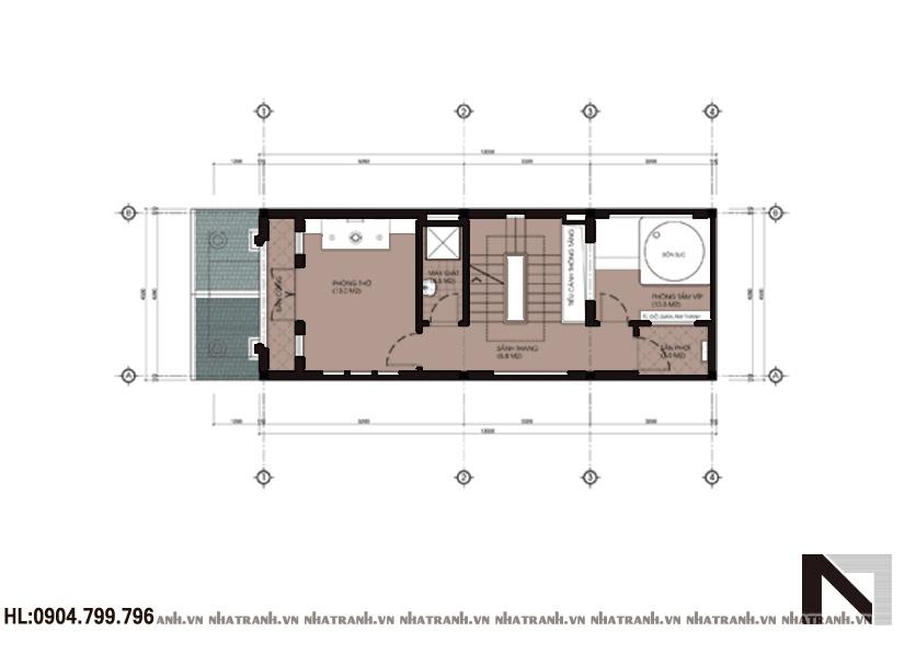 Ảnh: Mặt bằng chi tiết tầng điển hình mẫu nhà phố cổ điển 4 tầng mặt tiền 4m NT-L3623
