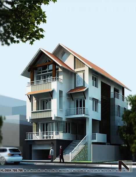 Phối cảnh tổng thể công trình mẫu nhà lô phố mặt tiền 6m 4 tầng phong cách tân cổ điển NT-L3613