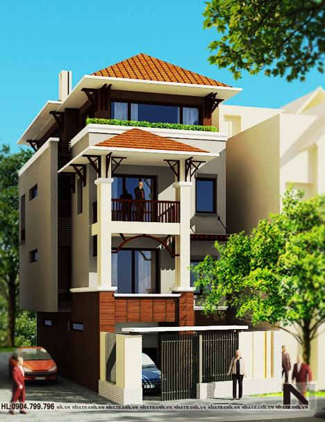 Ảnh: Phối cảnh tổng thể mẫu nhà phố tân cổ điển 4 tầng mặt tiền 7m NT-L3609