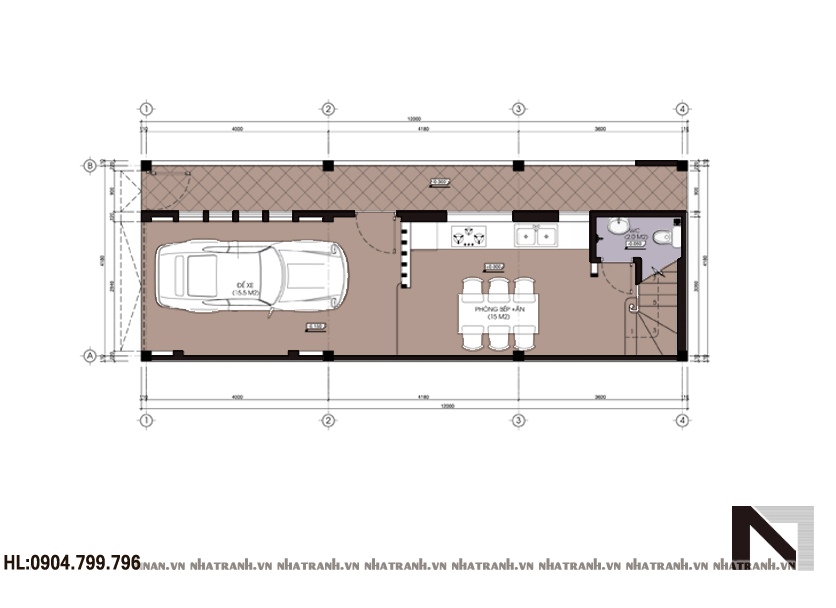 Ảnh: Mặt bằng chi tiết tầng điển hình mẫu nhà ống 4 tầng hiện đại NT-L3608