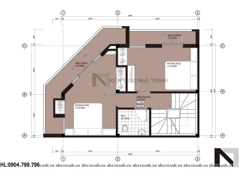 Ảnh: Mặt bằng tầng 2,3,4 mẫu nhà lô góc đẹp 4 tầng NT-L3632