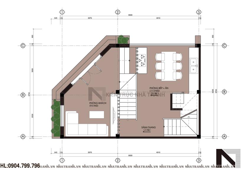 Ảnh: Mặt bằng tầng 1 mẫu nhà lô góc đẹp 4 tầng NT-L3632