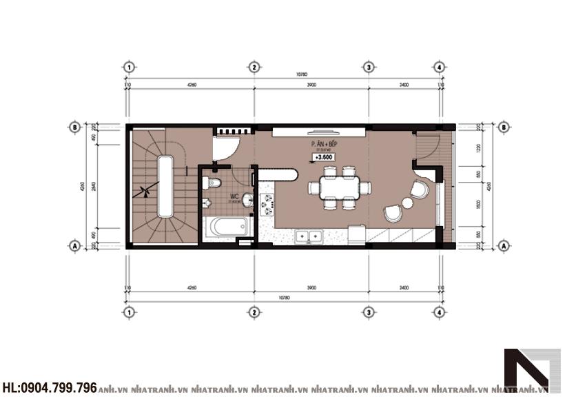 Mặt bằng chi tiết tầng điển hình mẫu nhà đẹp mặt tiền 4m 5 tầng phong cách hiện đại NT-L3606