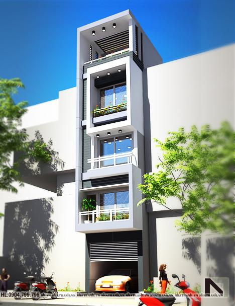Ảnh: Phối cảnh tổng thể mẫu nhà đẹp mặt phố 4m 5 tầng phong cách hiện đại NT-L3606