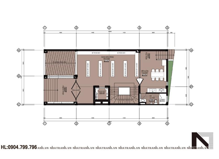 Ảnh: Mặt bằng chi tiết tầng điển hình mẫu thiết kế nhà ở kết hợp cửa hàng 5 tầng hiện đại NT-L3619: